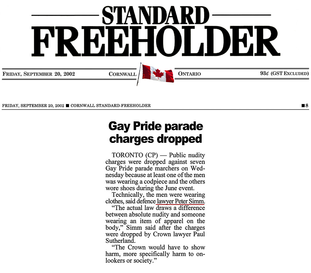 Cornwall Standard Freeholder 2002-09-20 - Simm convinces Crown to drop nudity charges against Pride marchers
